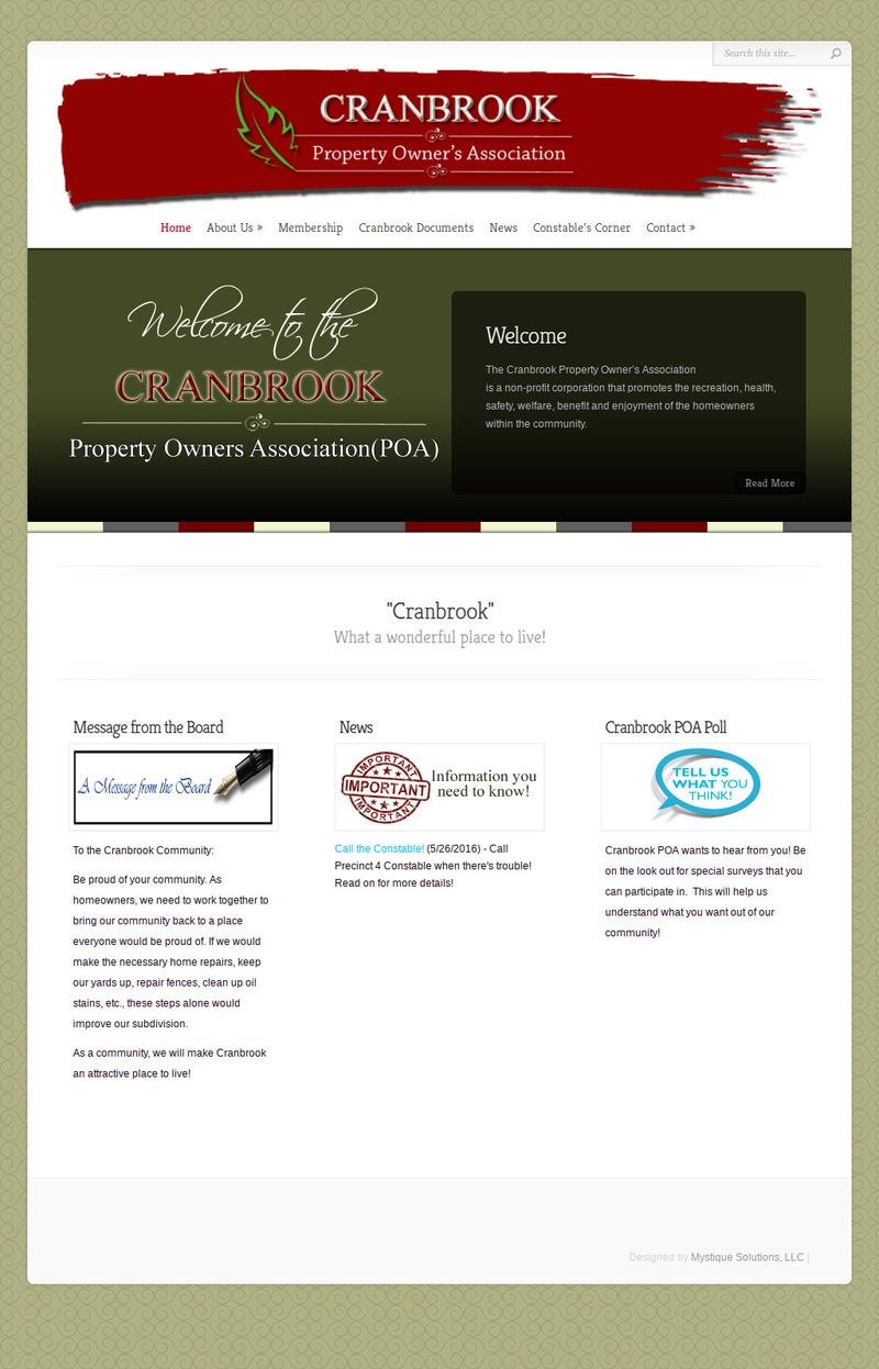Cranbrook Property Owner's Association